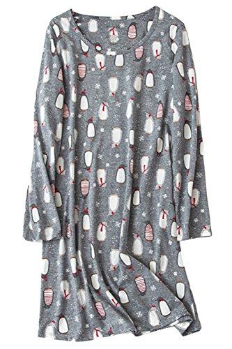 Asherbaby Damen Nachtwäsche Langarm Nachthemd Print Shirt Kleid - Grau - Small -