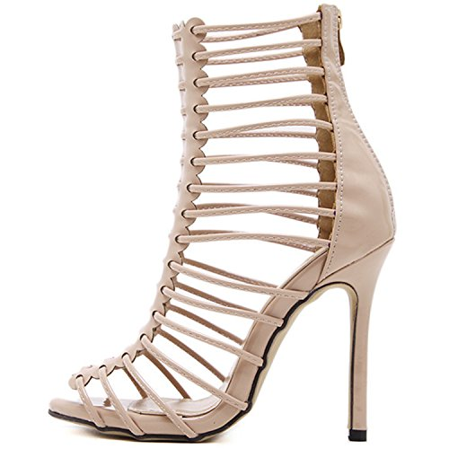 Oasap Women's Peep Toe Strappy Gladiator Stiletto Sandals Silver