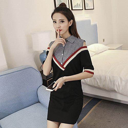 Emulation Kit (TXD Clothing Die koreanische Version des Modisches Shirt nähen Emulation kit Zwei Kurze Röcke,XXL,Raster)