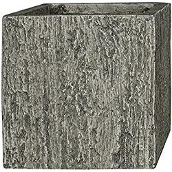 Pflanzwerk® Pot de Fleur Fibre de Verre Cube Jardinière Wood Gris 38x44x44cm XXL *Résistant au Gel* *Protection UV* *Qualité européenne*