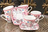 A Vintage Affair Ceramic Bicycle Pattern Tea, Coffee Cup and Saucers Combo (Pink, AVA-LH-03) - Set of 6