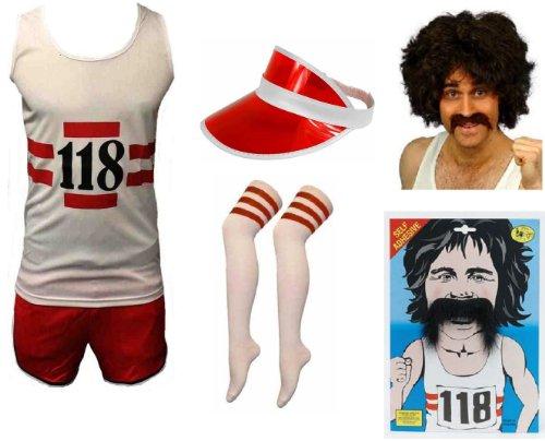 118118Marathonläufer Deluxe-Set inkl.: Weste, Shorts, Socken, Perücke, Schnäuzer/Schnurrbart und rot Visier Herren Fancy Kleid Kostüm für Erwachsene Größe M-L (Marathonläufer Kostüm)