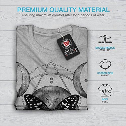 wellcoda Lune Cycle Papillon Femme S-2XL T-Shirt Gris