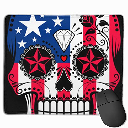 American Flag Patriot Skull Personalized Design Mauspad Gaming Mauspad with Stitched Edges Mousepads, Non-Slip Rubber Base, 300 x 250 x 3 mm Thick - Best Gift Idea -