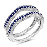 DazzlingRock Collection Damen 0,45 Karat Gold 14K Blauer Saphir Diamant Ehering Millgrain Schützen Doppel-Ring 1/2 Ct 8