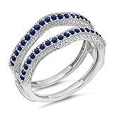 DazzlingRock Collection Damen 0,45 Karat Gold 14K Blauer Saphir Diamant Ehering Millgrain Schützen Doppel-Ring 1/2 Ct 8