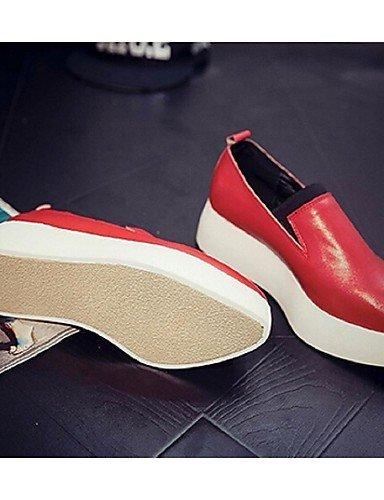 ShangYi Scarpe Donna - Mocassini - Casual - A punta - Plateau - Finta pelle - Rosso / Bianco / Grigio Red