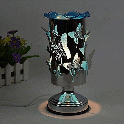 Rot Duftlampe (QINAIDI Schmetterling Duft Tischlampe, Berührungsempfindliche Nachttischlampe Schlafzimmer Dimmen Ätherisches Öl Duftlampe, (Rot, Blau, Lila),Blue)