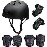 Skateboard / Skate Protection Set with Helmet--SymbolLife Helmet with 6pcs Elbow Knee Wrist Pads for Kids BMX/ Skateboard / Scooter, For Head Size S (55-57cm), M (58-60cm), L (61-63cm)