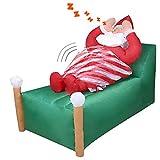 CCLIFE LED Aufblasbar Nikolaus Weihnachtsmann Schnarchen und Brust bewegt sich automatisch Beleuchtet Weihnachts Figuren Deko Gorss 155x110x88cm