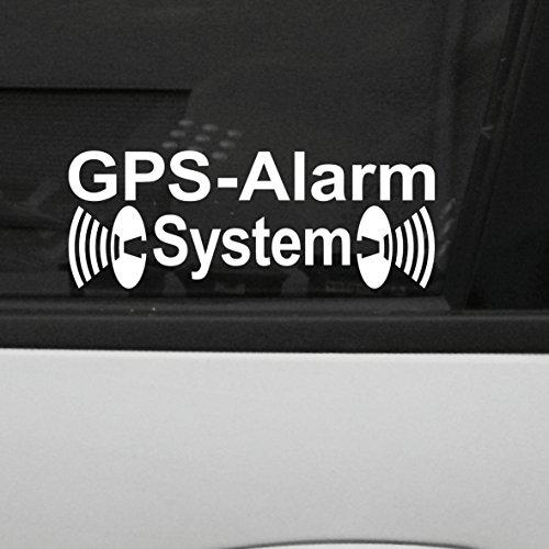 2 Stück weiß GPS Alarm System Aufkleber die cut Auto Fenster Tattoo Folie gespiegelt innenklebend Alarm Auto