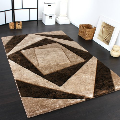 Luxury Designer Rug - Contoured - Geometric Checked - Mottled Brown Beige Black, Size:160x230 cm