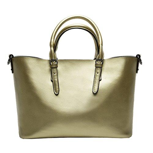 Valin Q0604 deman Leder Handtaschen Top Handle Satchel Tote Taschen Schultertaschen ,34x23.5x16.5cm (B x H x T) Gold