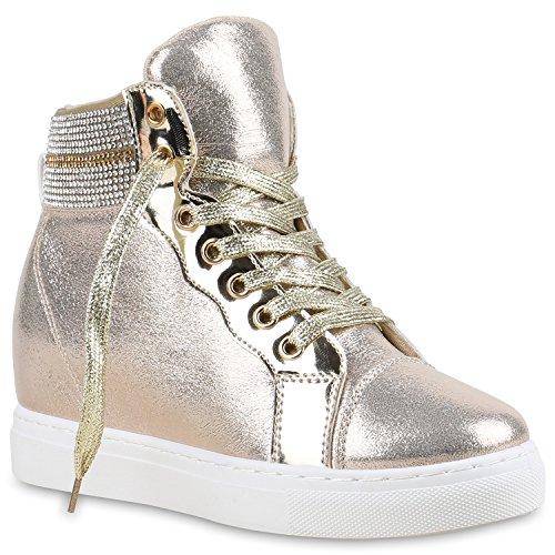 Sapatilha Brilhante Sapatilhas Cunhas Das Cunha De Sapatos Senhoras Metálico Calcanhar Da Ouro gqZa8Xqn