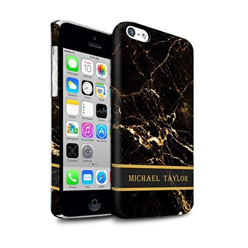 Personalisiert Personalisiert Marmor Matte Hülle für Apple iPhone SE / Perle Weißen Stempel Design / Initiale/Name/Text Snap-On Schutzhülle/Case/Etui Schwarz & Gold Banner