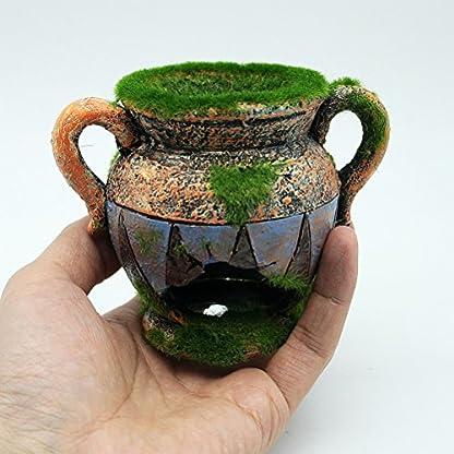 Dimart Simulation Resin Vase with Moss Aquarium Decorations Fish Tank Landscape Ornament 2