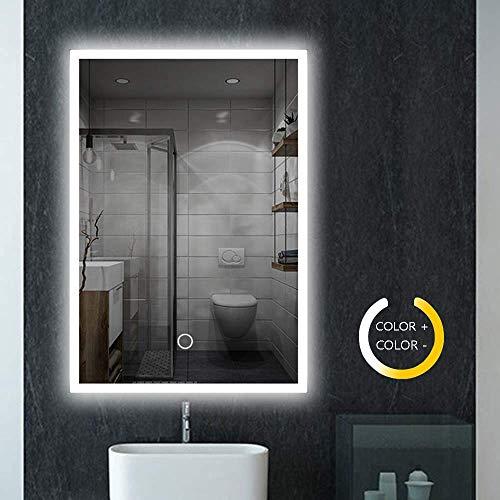 Badspiegel mit Beleuchtung, LED Spiegel mit Sensor-Schalter badezimmerspiegel LED Touch 3 Lichtfarbe 3200-6500K - IP44 energiesparend(600mm*800mm)