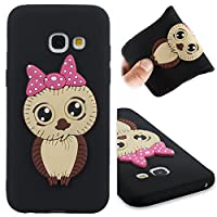 BONROY Samsung Galaxy A3 2017 / A320 Case, Design Bumper TPU Soft Case Rubber Silicone Skin Cover for Samsung Galaxy A3 2017 / A320-Female Owl - Black