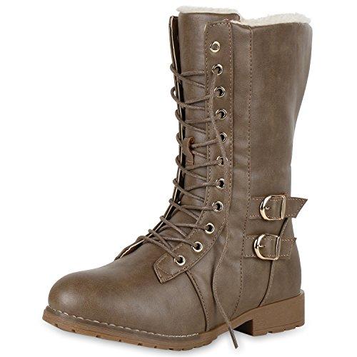 SCARPE VITA Damen Schnürstiefel Warm Gefütterte Stiefel Winter Schuhe Profil 151638 Khaki 39