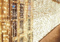 Idea Regalo - 600 LED 6M x 3M IDESION Tenda Luminosa Natale Impermeabile IP44 Tenda Luci Natale 8 Modalità Tenda Luminosa Esterno Bianco Caldo Tenda Di Luci Esterno Natale [Classe di efficienza energetica A+]
