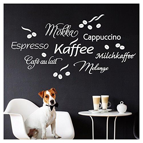 Wandaro W3457 Wandtattoo Kaffee I weiß 80 x 41 cm I Cappuccino Espresso Milchkaffee Küche Esszimmer Selbstklebend Aufkleber Wandaufkleber Wandsticker - Espresso-esszimmer
