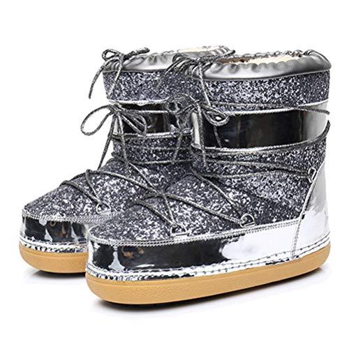 Frauen Warme Schneeschuhe Stiefeletten Winter SchnüRen Pailletten Tuch Plattform Rutschfeste Gold Bling Casual Schuhe Pliner High Heels