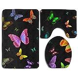 Bath Mats, 3 Piece Bathroom Rug Set Butterflies Nonslip Flannel Shower Mat Mildew Proof U-Shaped Toilet Cover Rugs for Men Women Kids, Bathroom Rugs, Bathroom Accessories