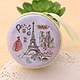 #9: Paris Purple Zipper Cable Coin Earphone Earbuds Storage Case Carrying Pouch Bag SD Card Holder Mini Box Knitting-needle Case
