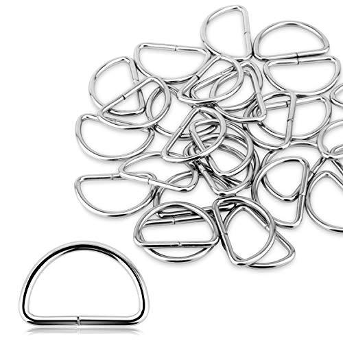 Alcoon D-Ringe aus Metall, 30 mm, nicht geschweißt, vernickelt, D-Ringe für Tasche, Schnalle, Gurte, Rucksack, DIY-Accessoires, Silberfarben, 30 Stück (D-ringe Für Hundehalsbänder)