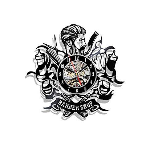 hhcuij Barber Shop Herramientas Reloj de Pared con Disco de Vinilo - Idea de Regalo para peluqueros, estilistas, peluqueros Estilistas de Cabello El Reloj de Pared