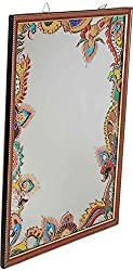 Maruti Handicrafts Glass Painted Glass Wall Mirror (62 cm x 50 cm x 2 cm, Multi-Coloured)