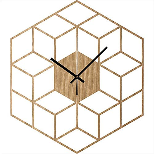 QRY Cube Inspired Wooden Wall Clock Fashion Creative Modern Geometric Figures Bamboo Material Study, Office, Bedroom, Living Room Happy Life