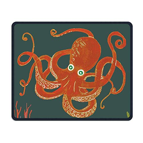 Happy Birthday Octopus Office Rectangle Non-Slip Rubber Mouse Pad Cool Gaming Mouse Pad for Laptop Displays Tablet Keyboard