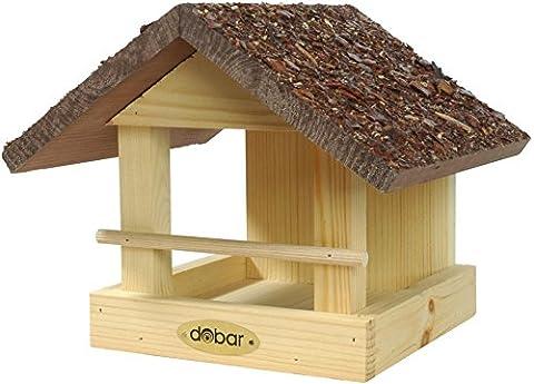dobar 38120FSCe Vogelhaus klein aus Holz mit Rindendach, 20 x