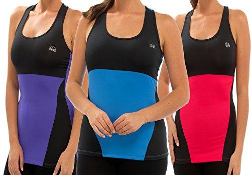Ladies sport Gym Yoga Fitness Co-ordinating Mix et Match haut et fond noir avec violet bleu ou rose dans la petite moyenne ou grande Gilet-rose/noir