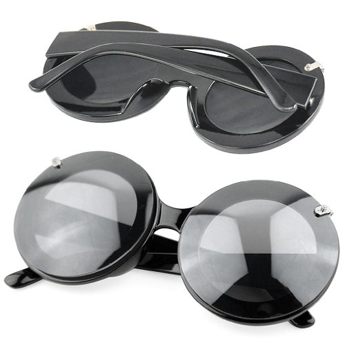 RETYLY Lady Mouse Runde Flip Up Paparazzi Shades Sonnenbrille-Glas-Gaga-Party