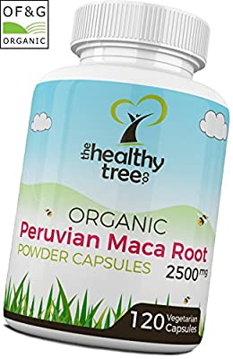Organic Maca Capsules - High Strength 2500mg per Capsule - Boost Energy Levels and Increase Vitality with Pure Maca Root Powder Capsules by TheHealthyTree Company