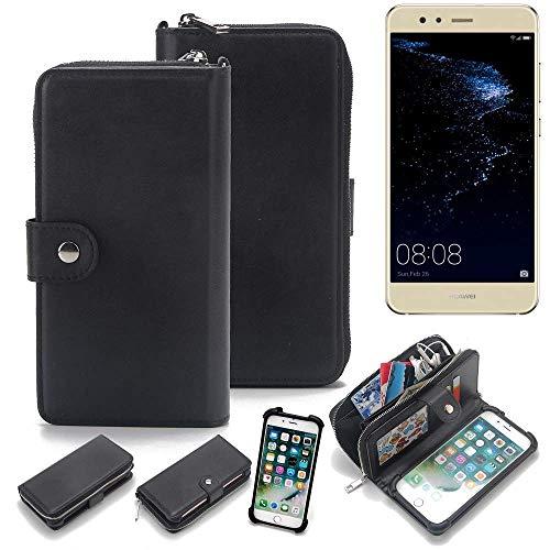 K-S-Trade 2in1 Handyhülle für Huawei P10 lite Dual-SIM Schutzhülle & Portemonnee Schutzhülle Tasche Handytasche Case Etui Geldbörse Wallet Bookstyle Hülle schwarz (1x)