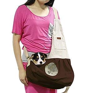 Hund Katze Tragetuch Schulter Tragetasche Welpen Haustier Tasche mit integriertem Haken Pet Travel Atmungsaktiv Baumwolle Leinwand verstellbar Haken Kaffee