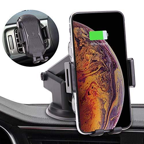 LONOSUN Caricatore Wireless Auto 10W Caricabatterie Wireless Veloce Ricarica Wireless Rapida per Samung Galaxy S10/S10 Plus/S10e/S9/S8/S7/S6, Note 9/8, iPhone XR/XS/X/8 e Altri Dispositivi ...
