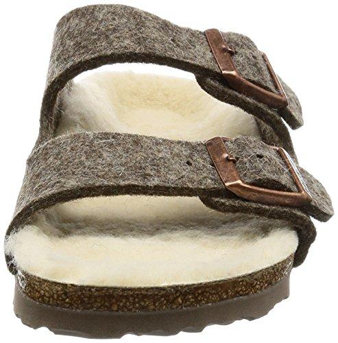 Birkenstock Arizona, Sandales mixte adulte Marron - Brown (Cacao Happy Lamb Beige)