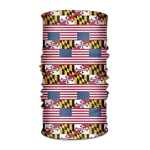 Ejjheadband Unisex Usa Maryland Flag Multifunctional Bandanas Sweatband Elastic Turban Headwear Headscarf Beanie Kerchief Usa Knot Turban