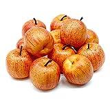 12 x Deko Äpfel groß 5,5cm, gelb/rot matt, künstlich, Früchte/ TOP