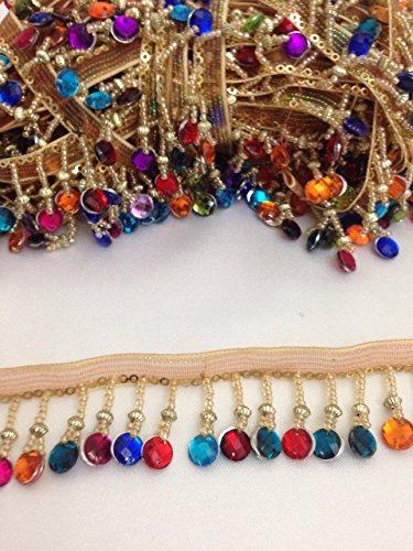 Perlen Trim Vorhang Rollo Bead Fransen Edge Trimming Gold Multi, 1Yard X 35mm