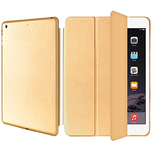 AirCase Polyurethane Smart Case Cover with Foldable Stand for iPad Air (Gold)