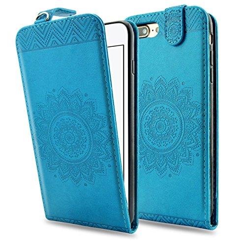 iPhone 8 Plus Lederhülle, iPhone 7 Plus Ledertasche - Fraelc UltraSlim 360 Grad Klapphülle Flip Case mit Karte Halter und Standfunktion Leder Schale für Apple iPhone 7 Plus / iPhone 8 Plus (5,5 Zoll)  Blau