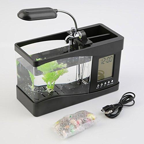 Mini-Desktop-Aquarium, Büro-Schreibtisch Kleine Personal Ökologie Aquarium Aquarium mit LCD-Timer-Taktgeber & LED-Lampen-Licht, für Home Office