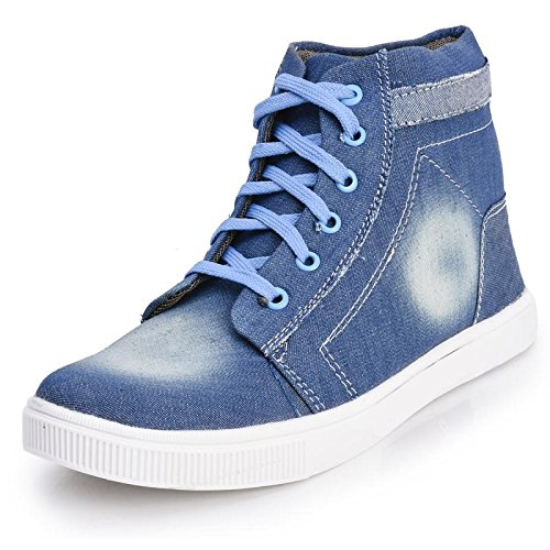 Foot n Style Men's Blue Denim High Ankle Casual Shoes  available at amazon for Rs.494
