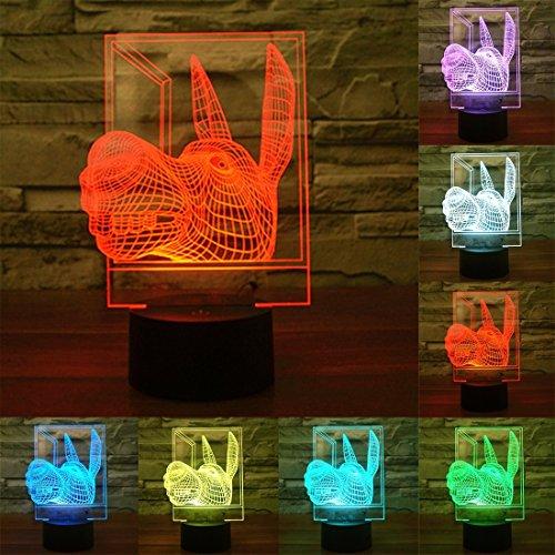 Night lights Lumières de la Maison, lumières de la Nuit Donkey Shape 7 Couleur Décoloration Creative Visual Stéréo Lampe 3D Tactile Commutateur LED Lumière Bureau Lampe de Nuit Lumière
