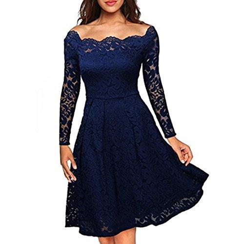 Élégant robe femme, Transer ® Femmes sexy Floral dentelle manches longues large épaule robe de Cocktail Swing formelle Bleu